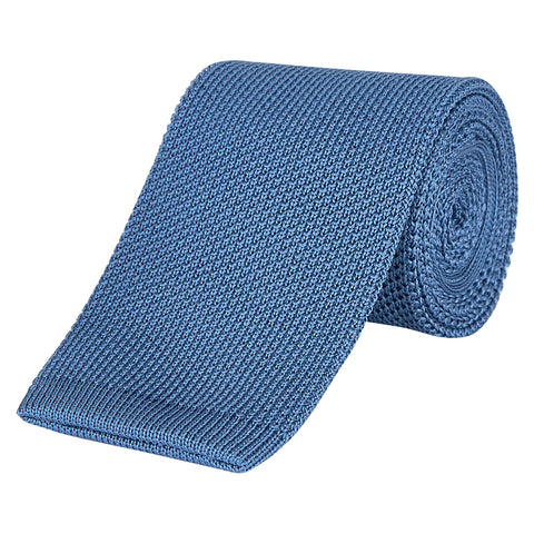 Pale Blue Fine Gauge Knitted Silk Tie