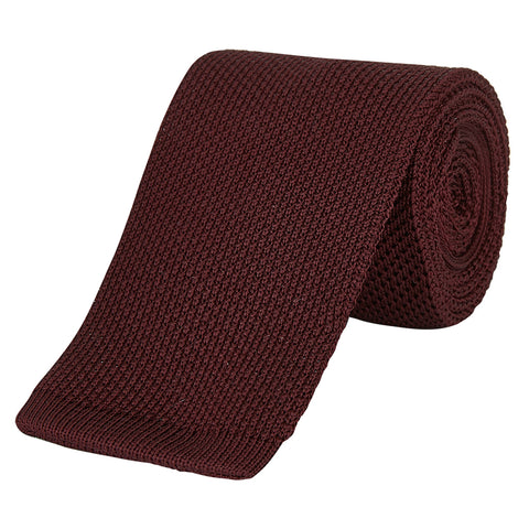 Burgundy Solid Fine Gauge Knitted Silk Tie