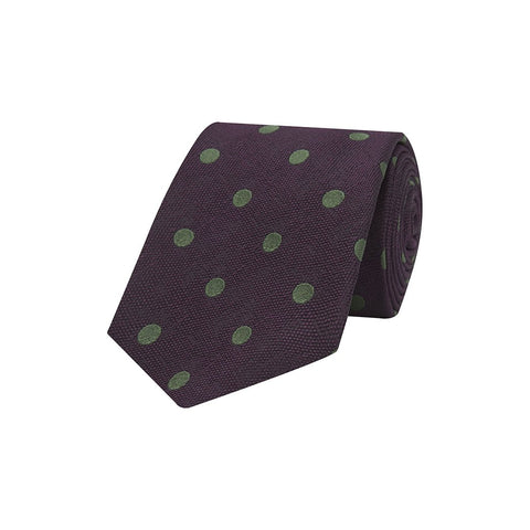 Purple and Green Large Spot Textured Woven Silk Tie