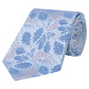 Pale Blue and Pink Acorn Jacquard Woven Silk Tie