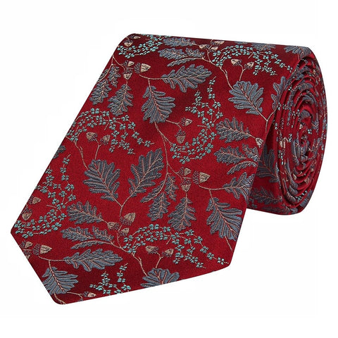 Red and Green Acorn Jacquard Woven Silk Tie