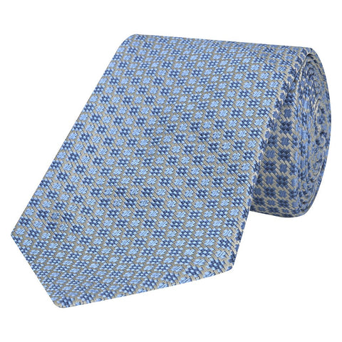 Pale Blue Geometric Cross Jacquard Woven Silk Tie