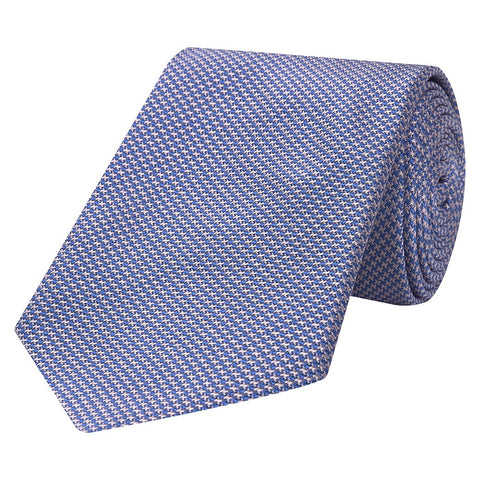 Blue Ascot Houndstooth Micro Woven Silk Tie