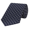 Navy Geometric Diamond Circle Jacquard Woven Silk Tie