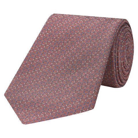 Pink Diamond Cross Twill Jacquard Woven Silk Tie