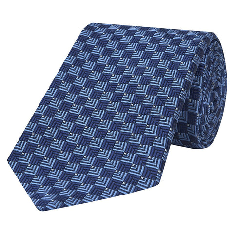 Blue Textured Diamond Jacquard Woven Silk Tie