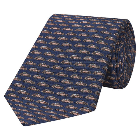 Navy Novelty Beetle Car Jacquard Woven Silk Tie