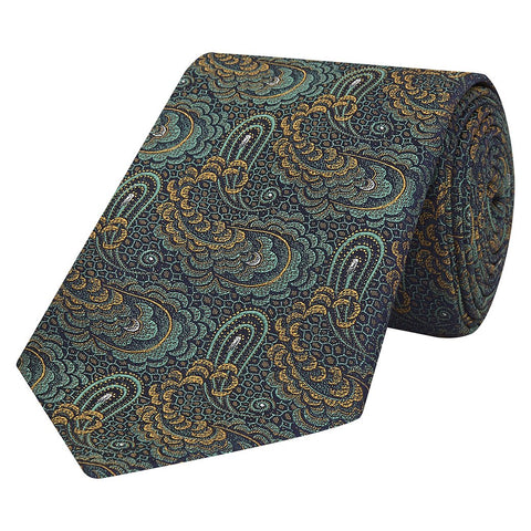 Green Paisley Jacquard Woven Silk Tie