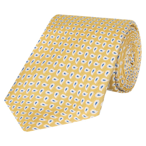 Yellow and Blue Teardrop Paisley Woven Silk Tie