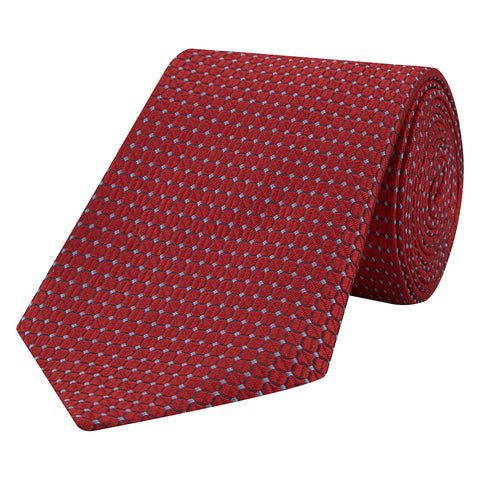Red Textured Grid Jacquard Woven Tie