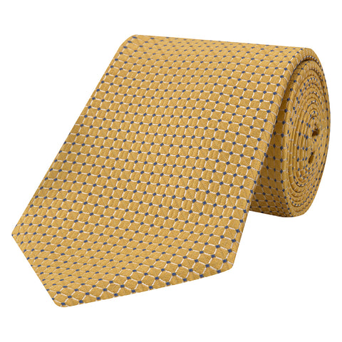 Yellow Textured Grid Jacquard Woven Tie