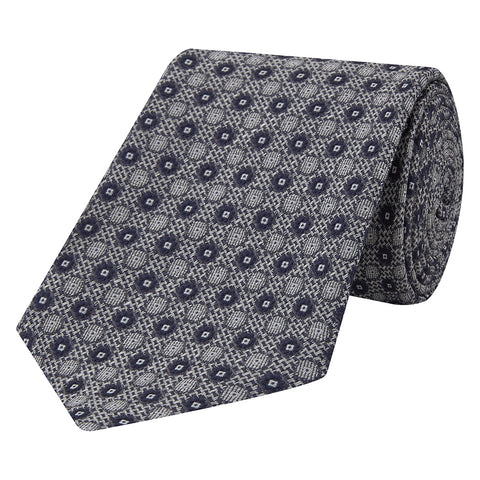 Navy Textured Circle Hopsack Jacquard Woven Tie