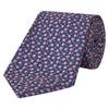Navy and Pink Floral Twill Woven Silk Tie