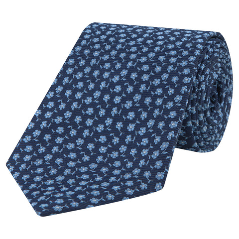 Navy and Blue Micro Flower Woven Silk Tie