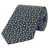 Navy and Yellow Micro Flower Woven Silk Tie