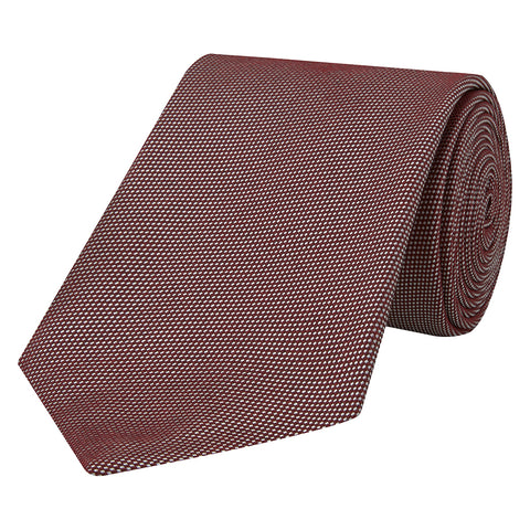 Red Textured Birds Eye Woven Silk Melange Tie