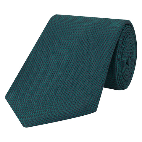 Green Solid Basketweave Solid Woven Silk Tie