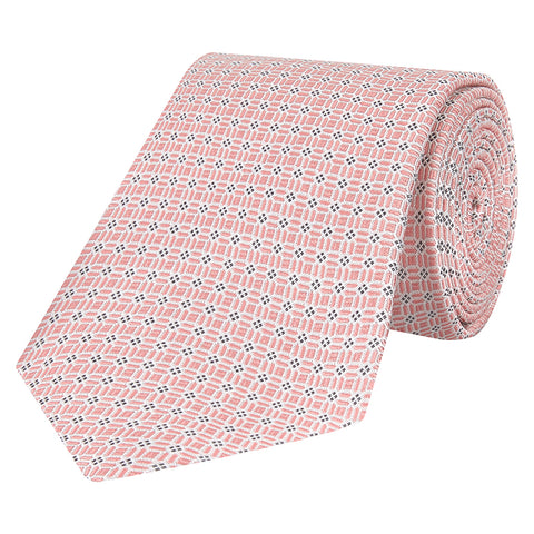 Pink and Blue Geo Mosaic Woven Silk Tie