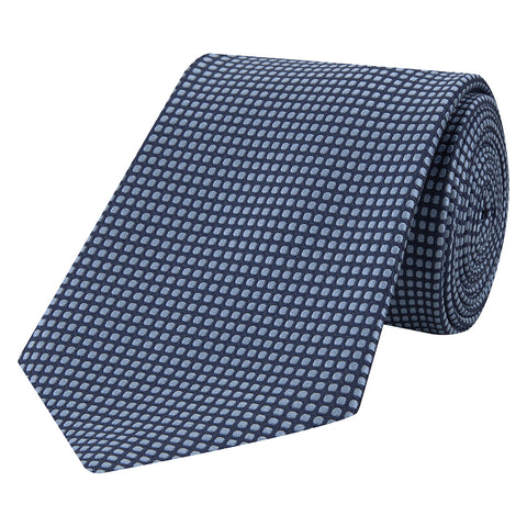 Navy Structured Square Spot Jacquard Woven Silk Tie