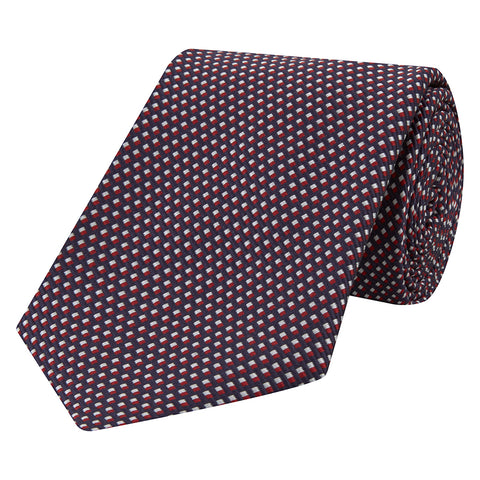 Navy Textured Hopsack Woven Silk Cotton Tie