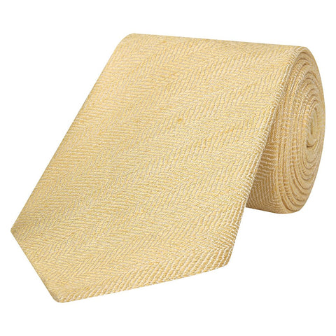 Yellow Solid Herringbone Marl Woven Silk Linen Tie