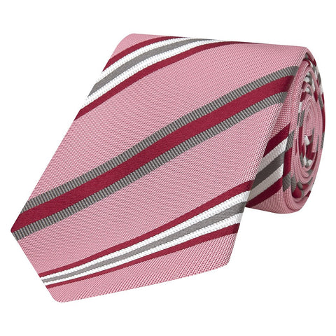 Pink Repe Hopsack Stripe Woven Tie