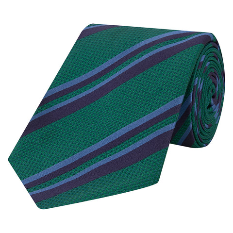 Green Stripe Basketweave Satin Woven Silk Tie