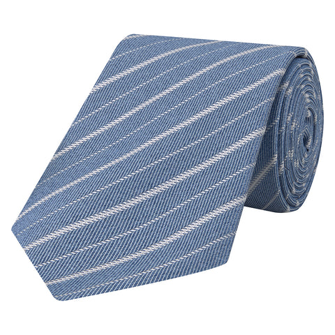Blue Irregular Stripe Herringbone Woven Tie