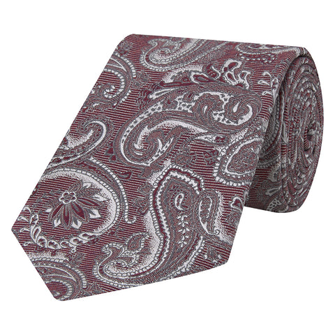 Red Large Paisley Jacquard Twill Woven Silk Tie