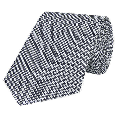 Black and White Micro Houndstooth Woven Silk Tie