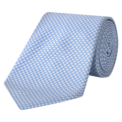 Blue and White Houndstooth Woven Silk Tie