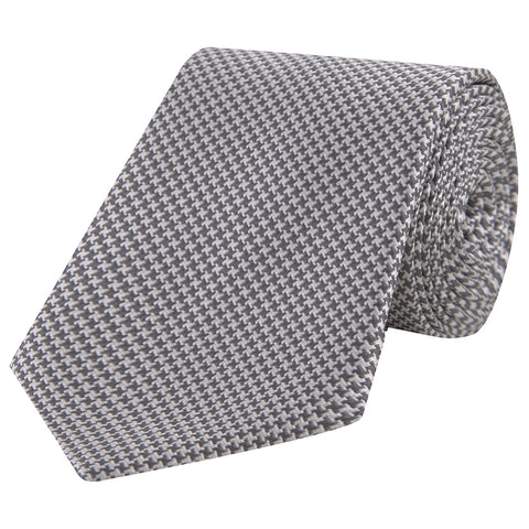 Grey and White Houndstooth Woven Silk Tie