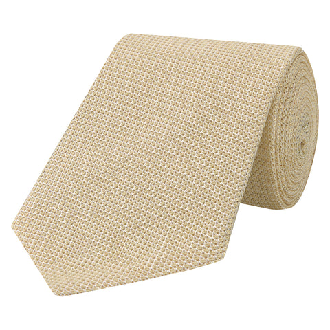 Yellow Solid Grenadine Woven Silk Tie