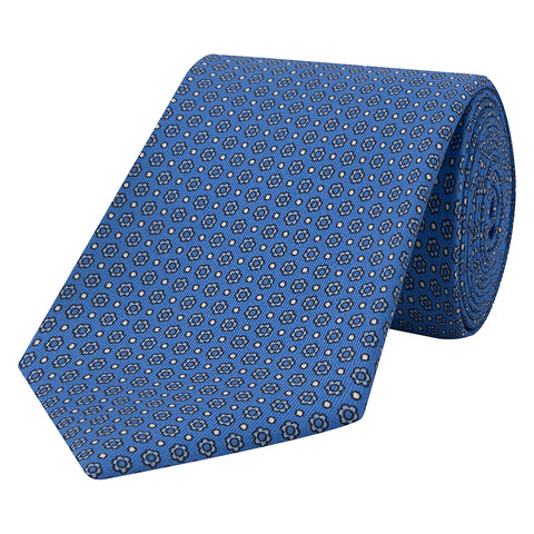 Blue Floral Dot Twill Printed Silk Tie