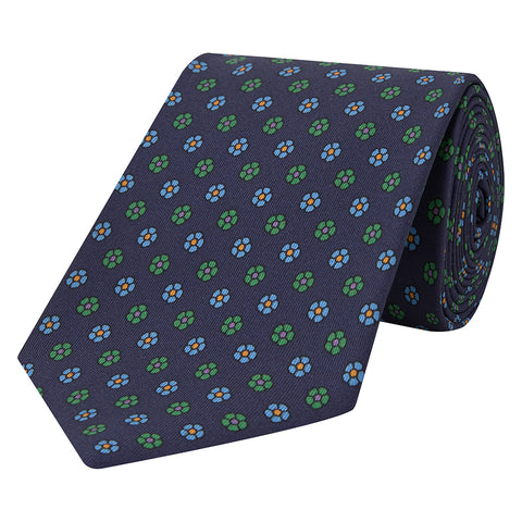Navy Large Floral Twill Printed Silk Tie