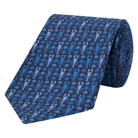 Navy Novelty Lobster and Shell Printed Silk Tie