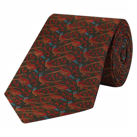 Green Textured Pheasant and Leaf Jacquard Woven Silk Tie