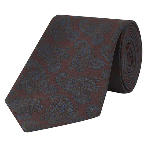 Red Green and Blue Tonal Large Paisley Jacquard Twill Woven Silk Tie