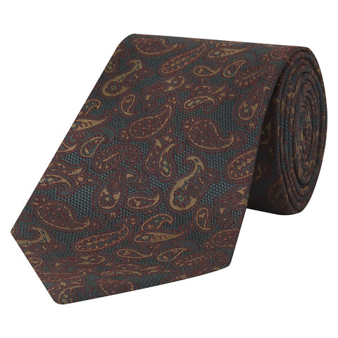 Green and Yellow Textured Paisley Hopsack Jacquard Woven Silk Tie
