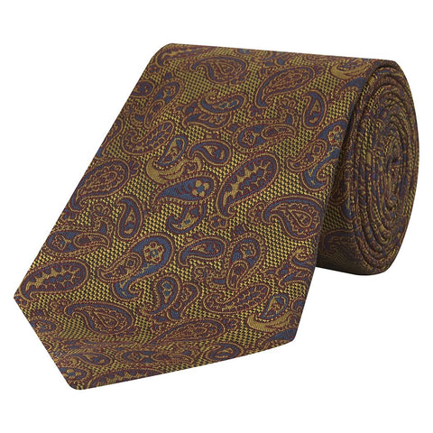 Yellow and Blue Textured Paisley Hopsack Jacquard Woven Silk Tie