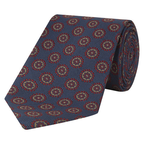 Navy and Red Medallion Hopsack Jacquard Woven Silk Tie