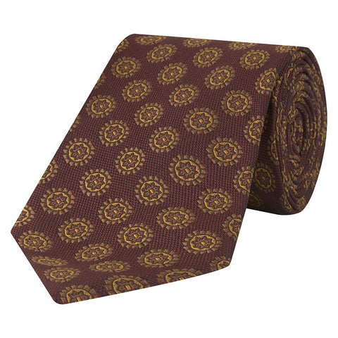 Red and Yellow Medallion Hopsack Jacquard Woven Silk Tie