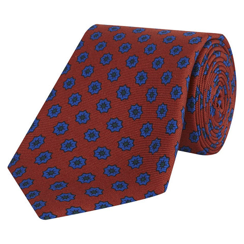 Orange and Blue Flower Printed Madder Silk Tie