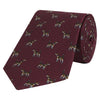 Burgundy Novelty Dog Printed Silk Tie