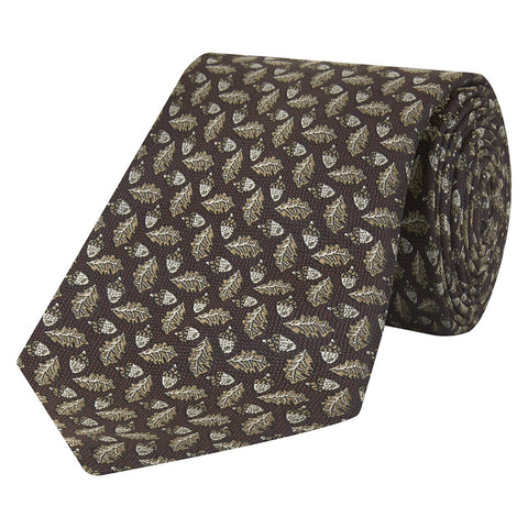 Brown Acorn and Leaf Micro Jacquard Woven Silk Tie