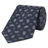 Navy and Blue Large Paisley Flower Motif Jacquard Woven Silk Tie