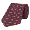 Red and Blue Large Paisley Flower Motif Jacquard Woven Silk Tie