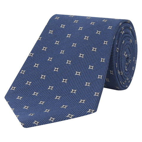 Blue Diamond Textural Hopsack Woven Silk Wool Tie