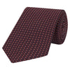 Red and Navy Geometric Pattern Jacquard Silk Tie