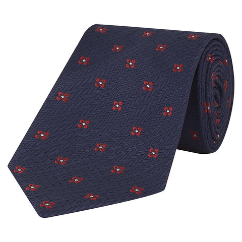 Blue and Red Large Floral Herringbone Jacquard Silk Tie